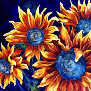 An acrylic painting of sunflowers by artist Theresa Eisenbarth ​