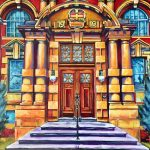 An acrylic painting of the Medicine Hat Courthouse by artist Theresa Eisenbarth ​