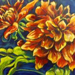 Pair of Dahlia flowers painted by artist Theresa Eisenbarth