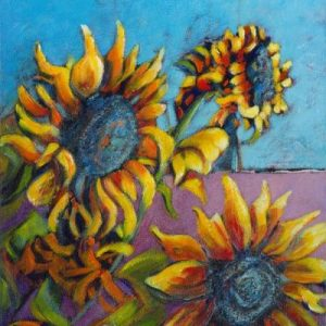 An acrylic painting of Sunflowers by a road in lake Country British Columbia by artist Theresa Eisenbarth  