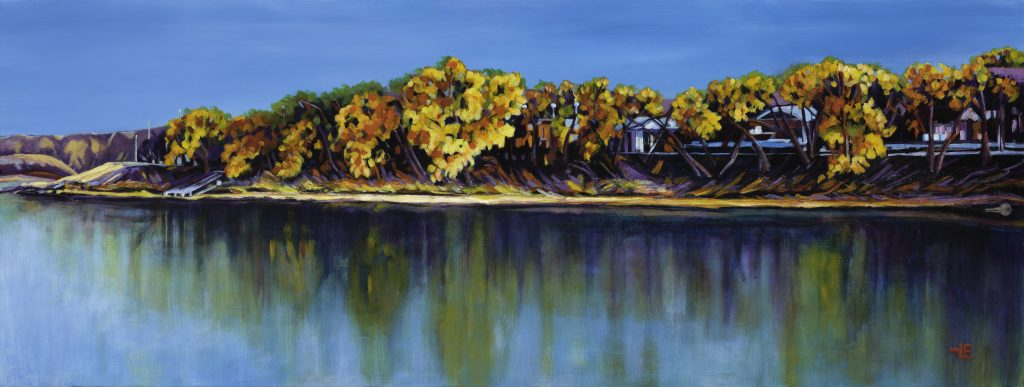 An acrylic painting by Theresa Eisenbarth called Looking Across South Saskatchewan, Medicine Hat, Alberta