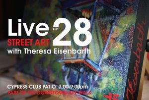 Theresa Eisenbarth painting live in Medicine Hat for Alberta Culture Days
