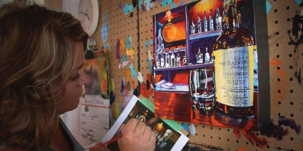 Theresa Eisenbarth Painting a Balvenie Scotch Bottle