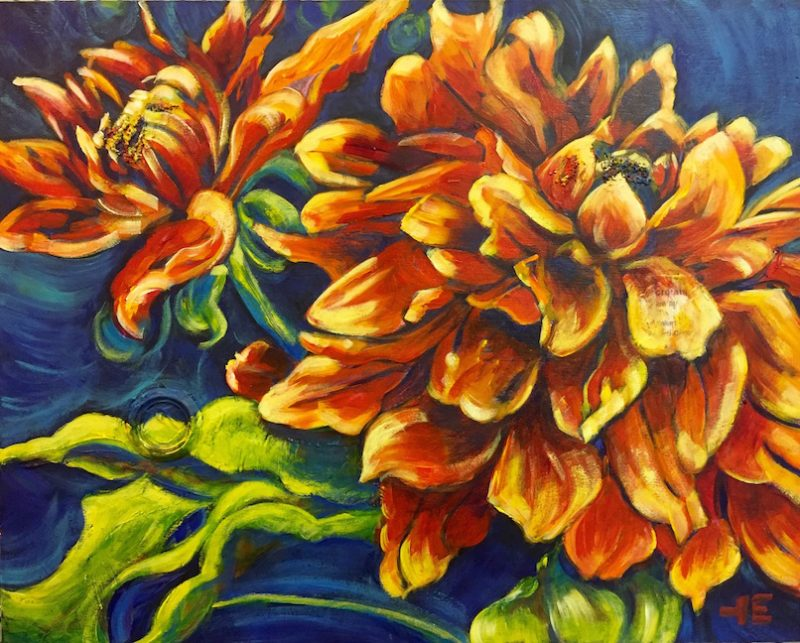 "Acrylic painting, "" Dahlia Pair "" by Canadian artist, Theresa Eisenbarth"