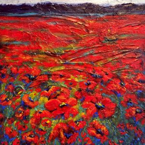 An acrylic painting of a field of red poppies by Canadian artist, Theresa Eisenbarth