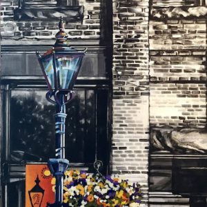 Acrylic painting, of a Gaslight on Second Street in Medicine Hat by Canadian artist, Theresa Eisenbarth
