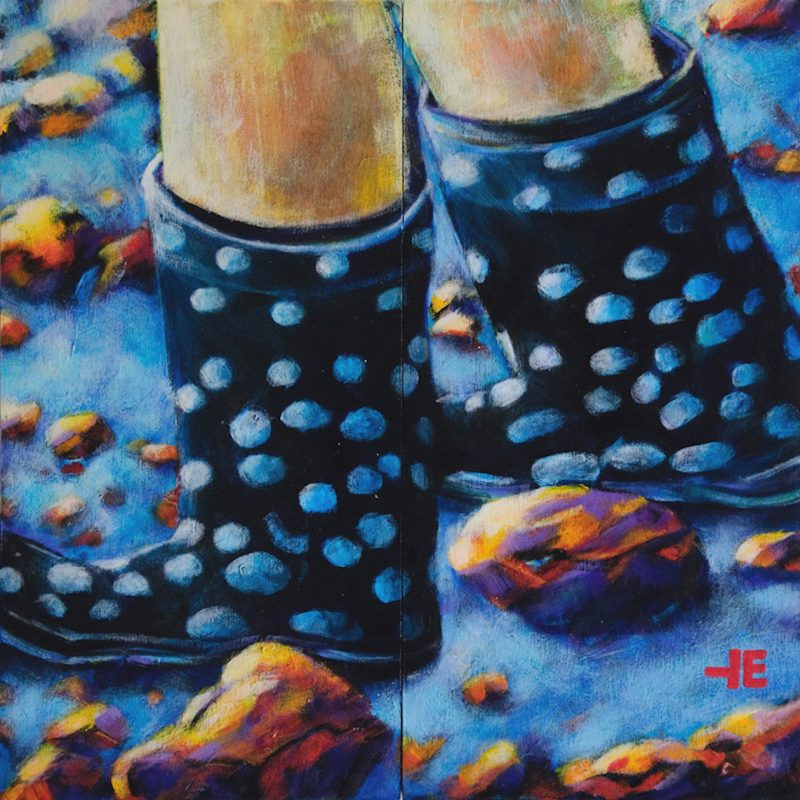 An acrylic painting of Polked Boots by Canadian artist Theresa Eisenbarth