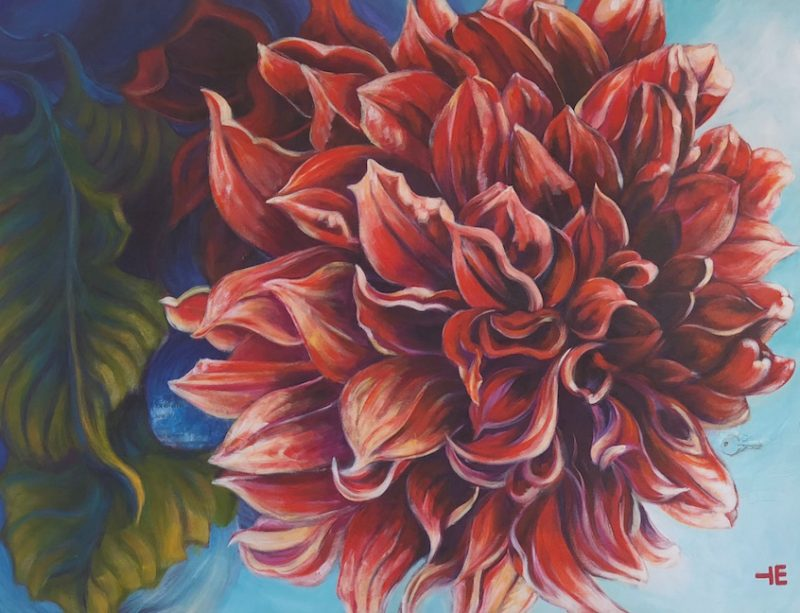 "Acrylic painting, "" RED Dahlia for Over the Piano "" by Canadian artist, Theresa Eisenbarth"