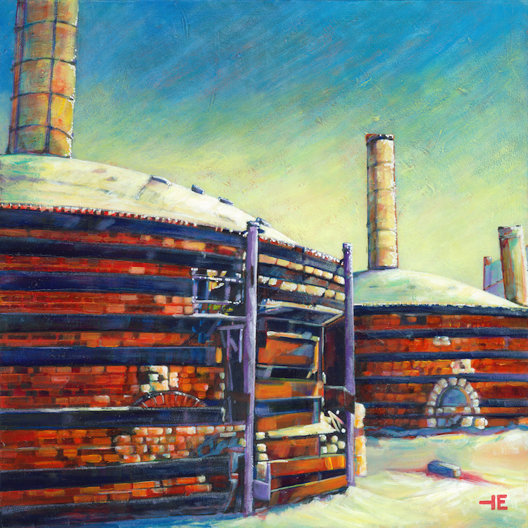 "Acrylic painting, "" Red Hot Kilns, Medicine Hat "" by Canadian artist, Theresa Eisenbarth"