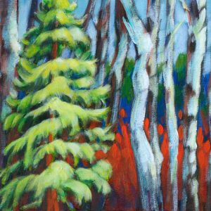 "An acrylic painting of an evergreen and birch trees called ""Show Off at Emerald Lake Alberta "" by Canadian artist Theresa Eisenbarth"