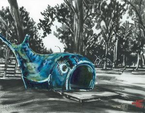 """An acrylic painting of the Blue Whale at Central Park called """"We All Remember The Ride"""" by Canadian artist Theresa Eisenbarth"""