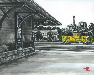 """An acrylic painting of CP Rail Station in Medicine Hat called """"CP Railway on North Railway"""" by Canadian artist Theresa Eisenbarth"""