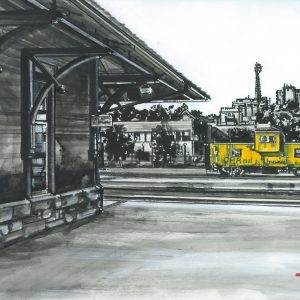 "An acrylic painting of CP Rail Station in Medicine Hat called ""CP Railway on North Railway"" by Canadian artist Theresa Eisenbarth"