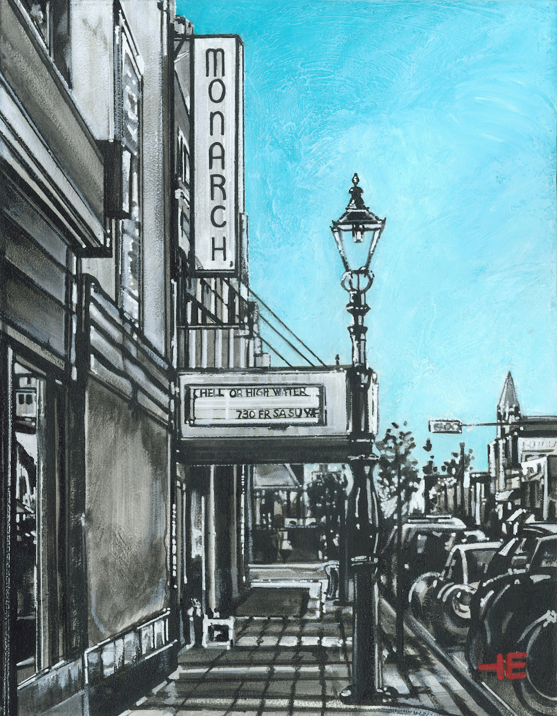 "An acrylic painting of a gaslight at the Monarch Theatre called ""The New Monarch Marquee "" by Canadian artist Theresa Eisenbarth"