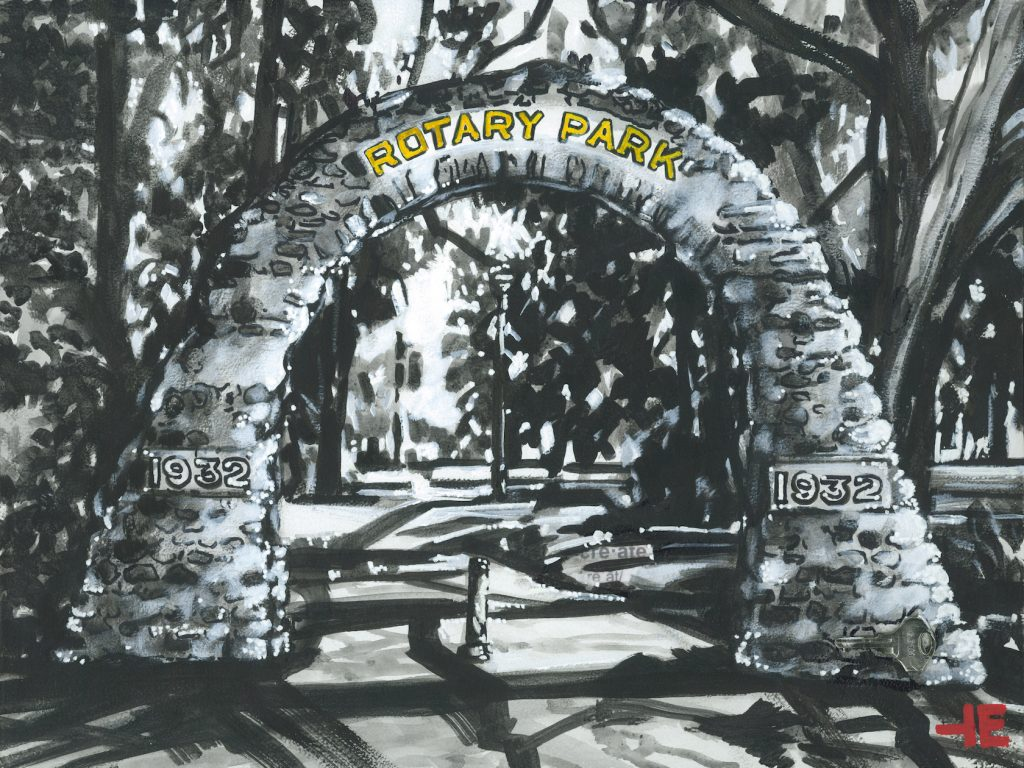 An acrylic painting of Rotary Park arch in Medicine Hat by Canadian artist Theresa Eisenbarth