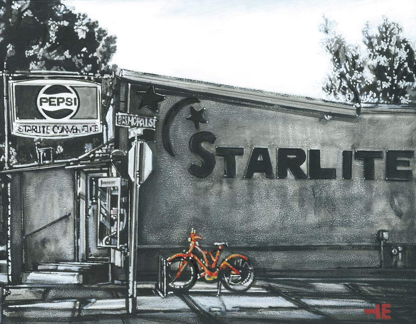 An acrylic painting of Starlite Convenience, Medicine Hat by Canadian artist Theresa Eisenbarth