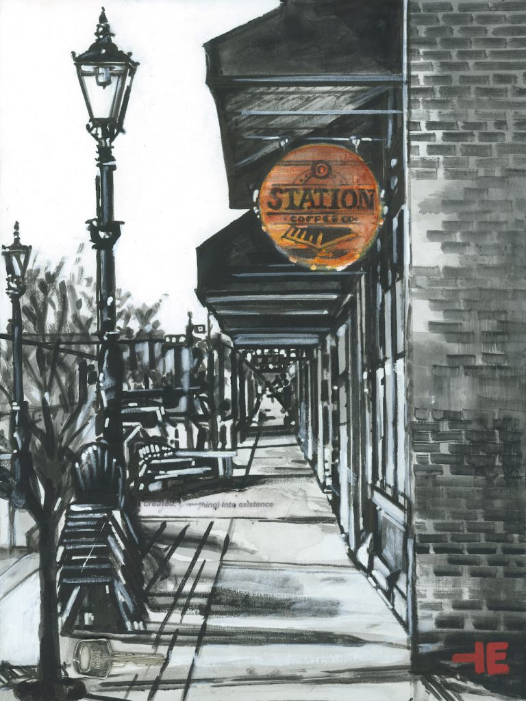 An acrylic painting of the Station Coffee house in Medicine Hat by Canadian artist Theresa Eisenbarth