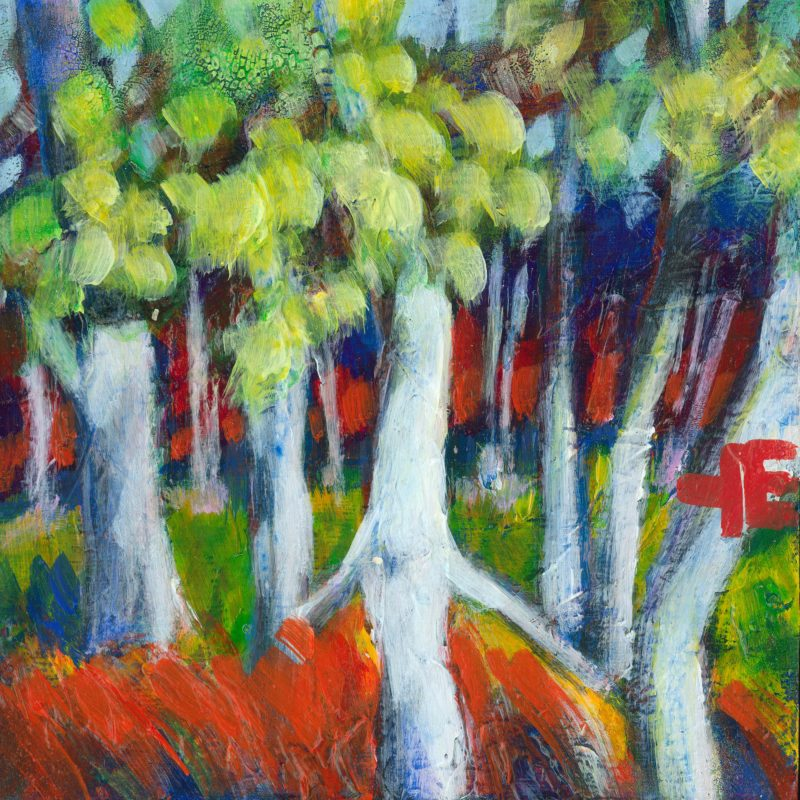 """An acrylic painting of birch tree called """"Wave In The Wind"""" by Canadian artist Theresa Eisenbarth or"""