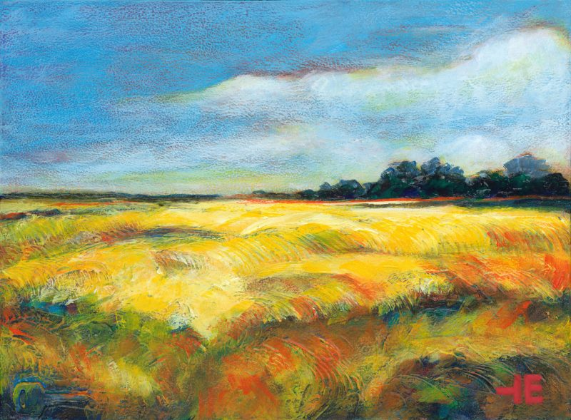 "Acrylic painting of canola fields called "" Well this is Pretty Yellow "" by Canadian artist, Theresa Eisenbarth"