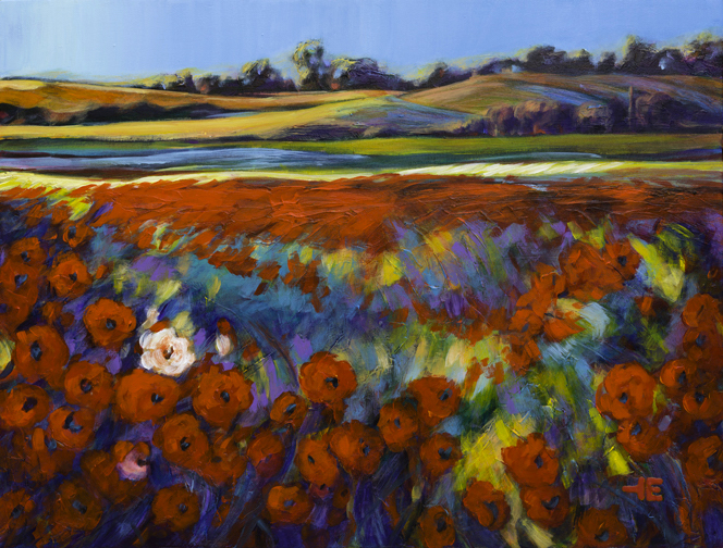"An acrylic painting of a red field called ""White Flower in a Red Field"" by Canadian artist Theresa Eisenbarth"