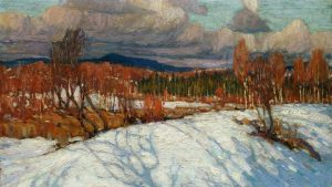 Tom Thomsons painting of Tom Thomson's In Algonquin Park, 1914. https://www.cbc.ca/news/canada/ottawa/tom-thomson-last-spring-1.4037451