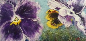 An Acrylic painting by Medicine Hat artist, Theresa Eisenbarth of Pansy flowers