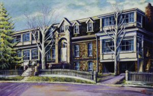 "An Acrylic painting named ""Medicine Hat Old Hospital, 1888, Medicine Hat "" by Canadian artist, Theresa Eisenbarth"