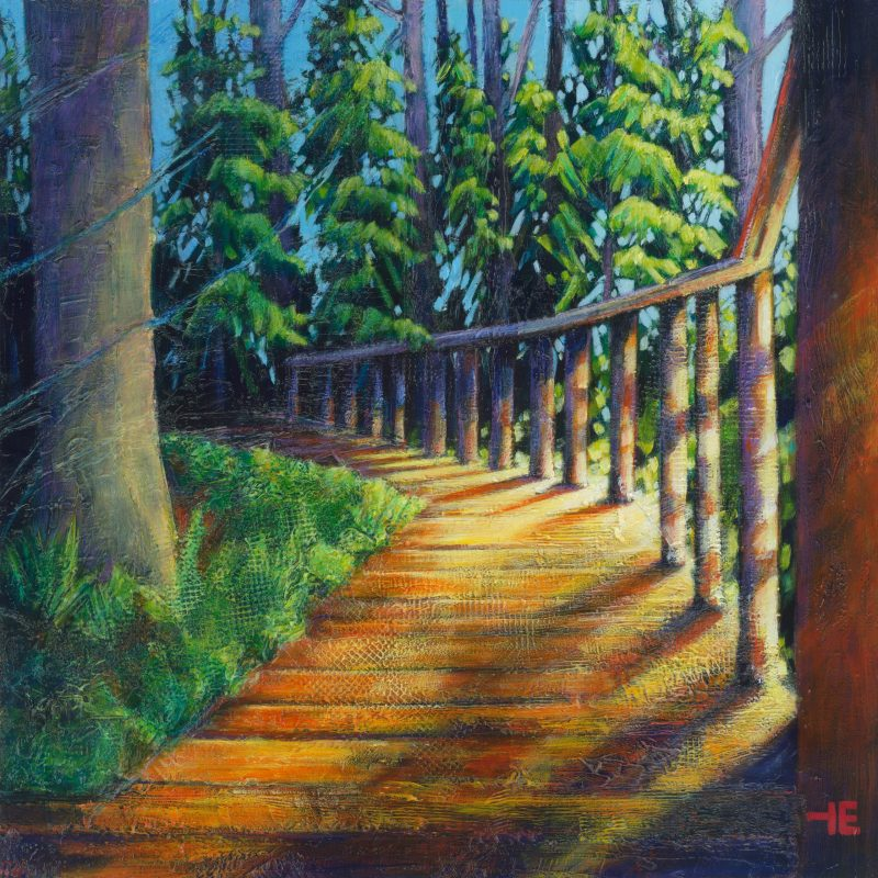 A painting on a path in Cypress Hills Park by artist Theresa Eisenbarth
