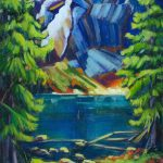 A painting of a mountain and Angel Falls by artist Theresa Eisenbarth