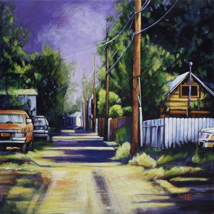A painting of the Balmoral Back Alley in Medicine Hat by artist Theresa Eisenbarth