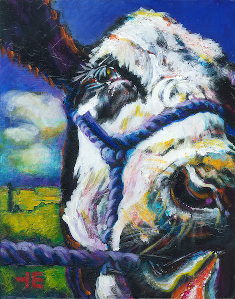 A painting of a jersey cow called, Bella Being Funny Painting by artist Theresa Eisenbarth WEB