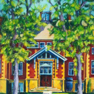 an acrylic painting by artist Theresa Eisenbarth called Connaught School, Medicine Hat