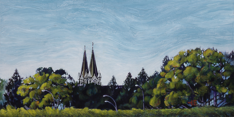 A painting of St. Patrick's Church called Copper Spires in Medicine Hat and the Copper Spires
