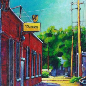 A painting of the Corona Tavern Sign located in the North Flats, Medicine Hat