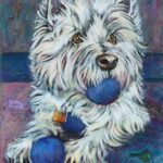 A painting of a white terrier dog named Cozmo, by Artist Theresa Eisenbarth