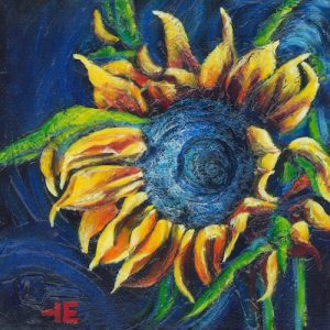 "A painting of a yellow sunflower called Forgotten Flower"" by artist Theresa Eisenbarth in Medicine Hat"