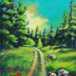 A painting of a path in Elkwater, Cypress Hills park, Alberta called harsh Canyon by artist Theresa Eisenbarth