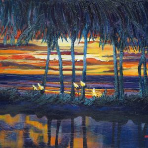 A painting of a sunset in Hawaii named, Life Couldn't be Better by artist Theresa Eisenbarth
