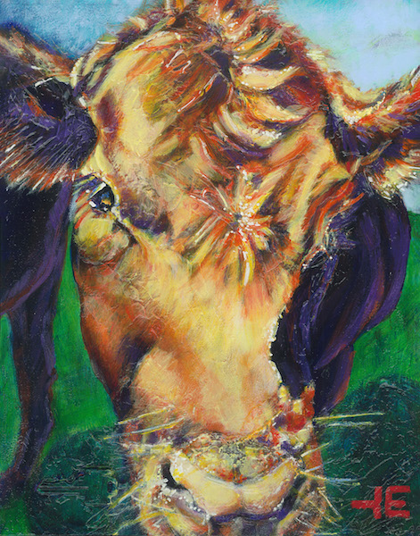 A painting of a cow by artist Theresa Eisenbarth