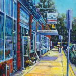 A painting of The Chocolate Shop on Aberdeen, Medicine Hat by artist Theresa Eisenbarth
