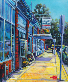A painting of the Chocolate Shop on Aberdeen Street in Medicine Hat by artist, Theresa Eisenbarth