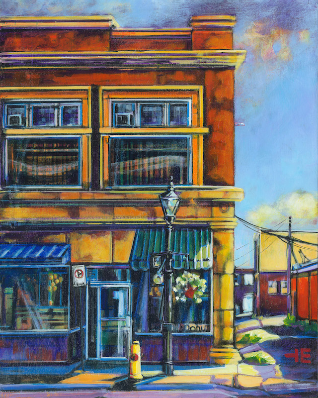 A painting by artist Theresa Eisenbarth of the Donut Shop on ^th Avenue, Medicine Hat