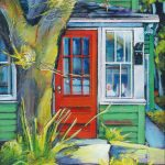 A painting of the a RED Door off of Kingsway Street in Medicine Hat by artist, Theresa Eisenbarth