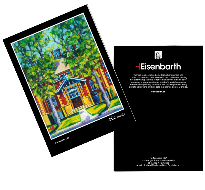 Large Notecard Set of Connaught School Medicine Hat, Alberta by artist Theresa Eisenbarth