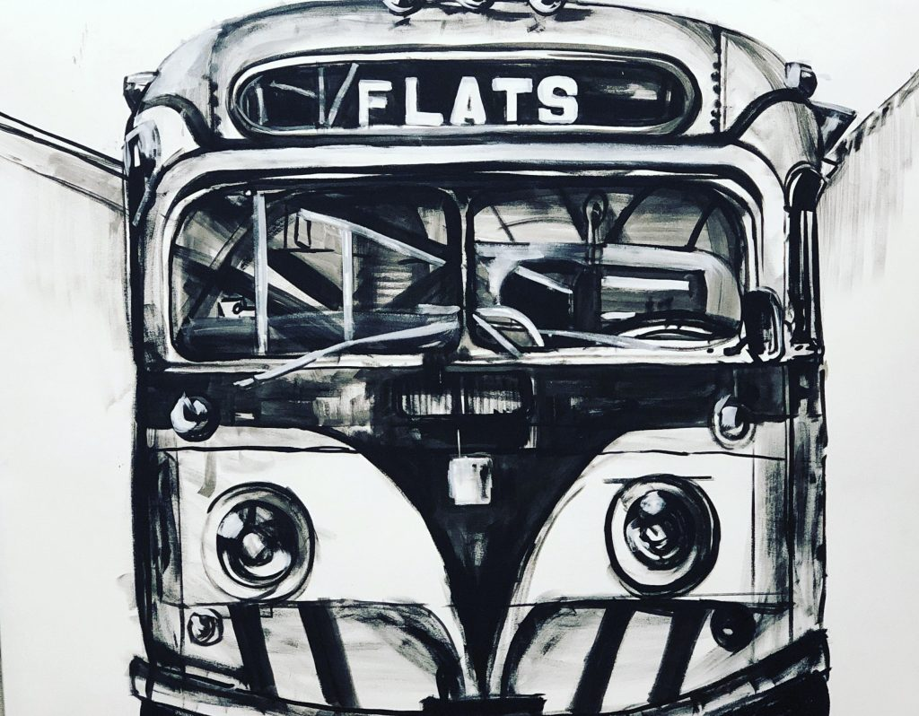 "An Acrylic Painting in Black and White paint named ""Frankie's Bus"" by Canadian artist, Theresa Eisenbarth"
