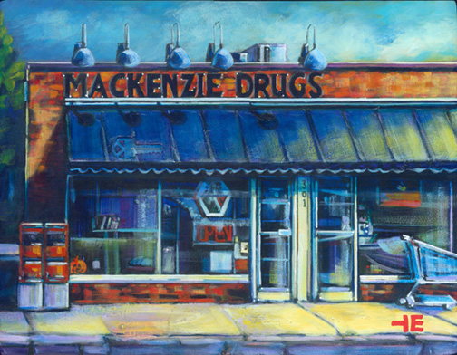"An Acrylic Painting named ""A Friendly Neighbourhood Pharmacy"" by Canadian artist, Theresa Eisenbarth"