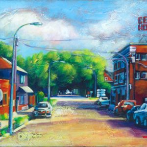 "An Acrylic Painting named ""A Stop At The Bakery Perhaps"" by Canadian artist, Theresa Eisenbarth"