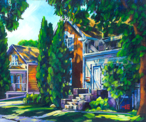 "An Acrylic Painting named ""A Tale Of Two Houses"" by Canadian artist, Theresa Eisenbarth"