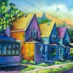 "An Acrylic Painting named ""Barbie Doll Houses Across The Street"" by Canadian artist, Theresa Eisenbarth"