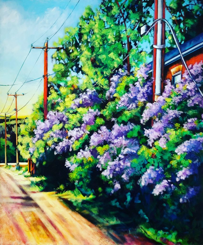 Smell-of-Lilacs-painting-by-Canadian-artist-Theresa-Eisenbarth